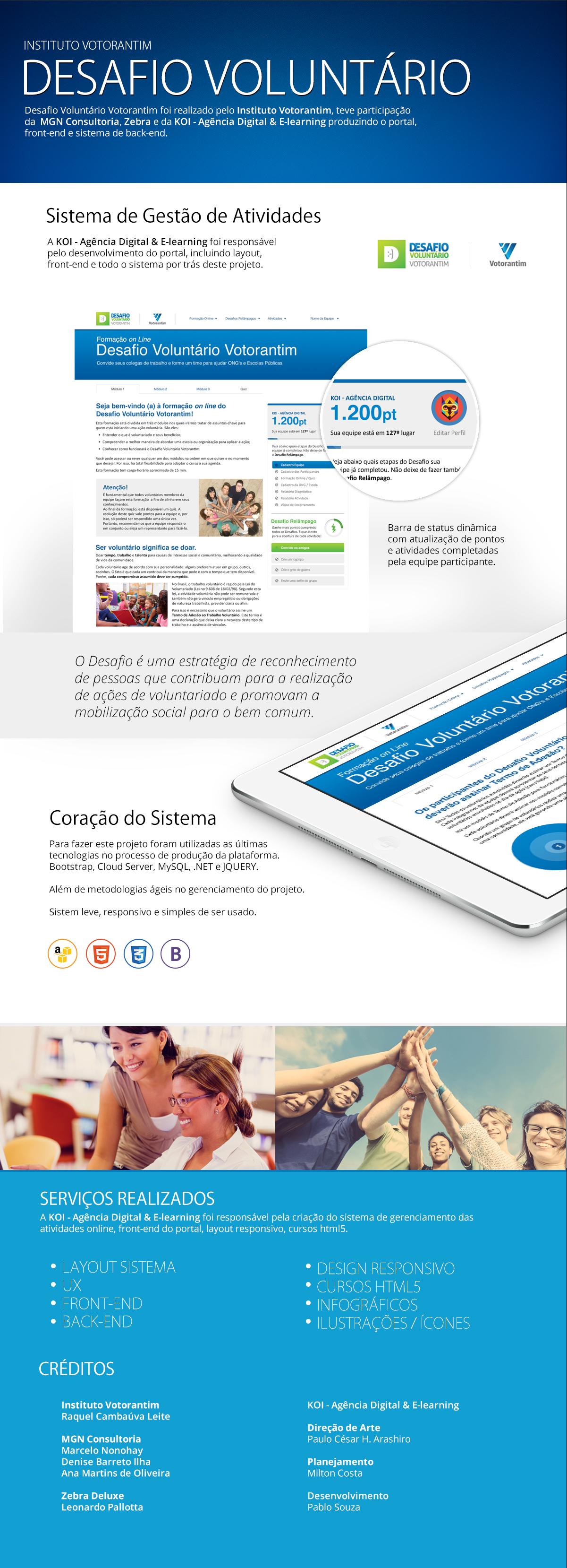 Instituto Votorantim: Desafio Voluntário. Sistema de Internet